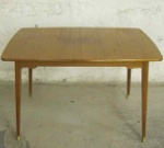 50's mahogany dining table with 2 leaves. SOLD 2014-03-20