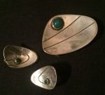 Kaplans silver brooch & earrings with crysophrase, ca 60's, 675 SEK/3 pieces (sold together) 2020-01-19