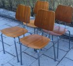 4 School chairs, 60's SOLD 2017-03-16