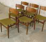 6 Danish chairs, teal, 60´s  SOLD