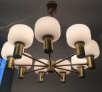 Hans-Agne Jakobsson pendant, 9 bulbs, brass & glass, ca 70's Sweden, Price on request ON HOLD 2018-04-09